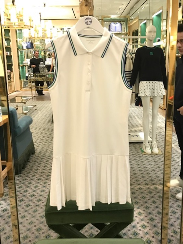 c952f6e6b37 This Tory Sport Pleated Tennis Polo Dress is Tory s version of a classic  white tennis dress. The dress was constructed with moisture wicking  features to ...