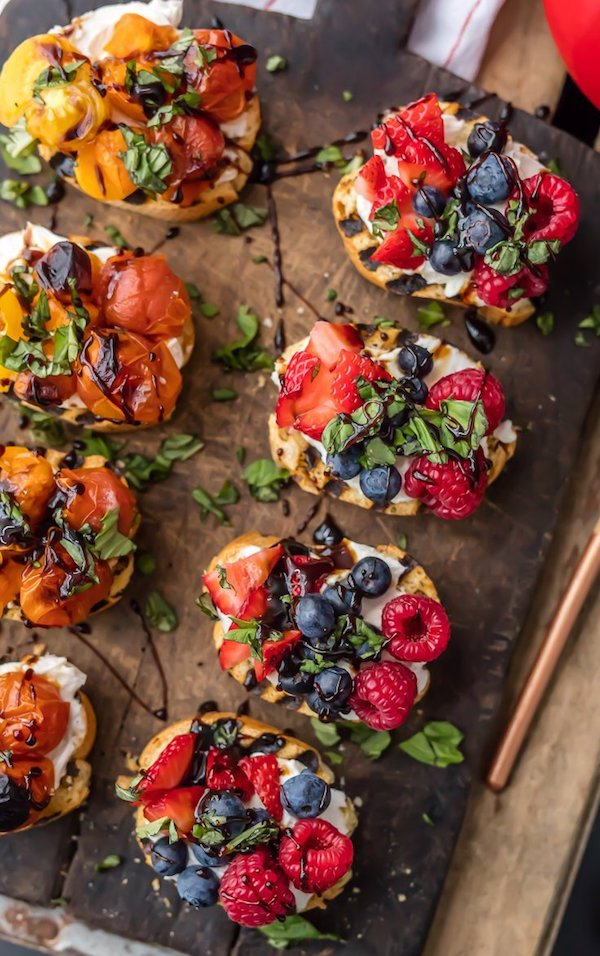Whipped Goat Cheese Bruschetta with Fruit